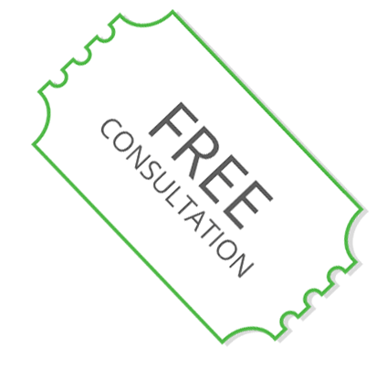A ticket stub with the words FREE CONSULTATION that when clicked downloads a coupon for a free laser consultation with Dr. Kevin O'Neill