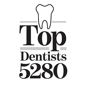 Top Dentists logo from 5280 Magazine - awarded to Dr. Andrew Schope and Dr. Kevin O'Neill
